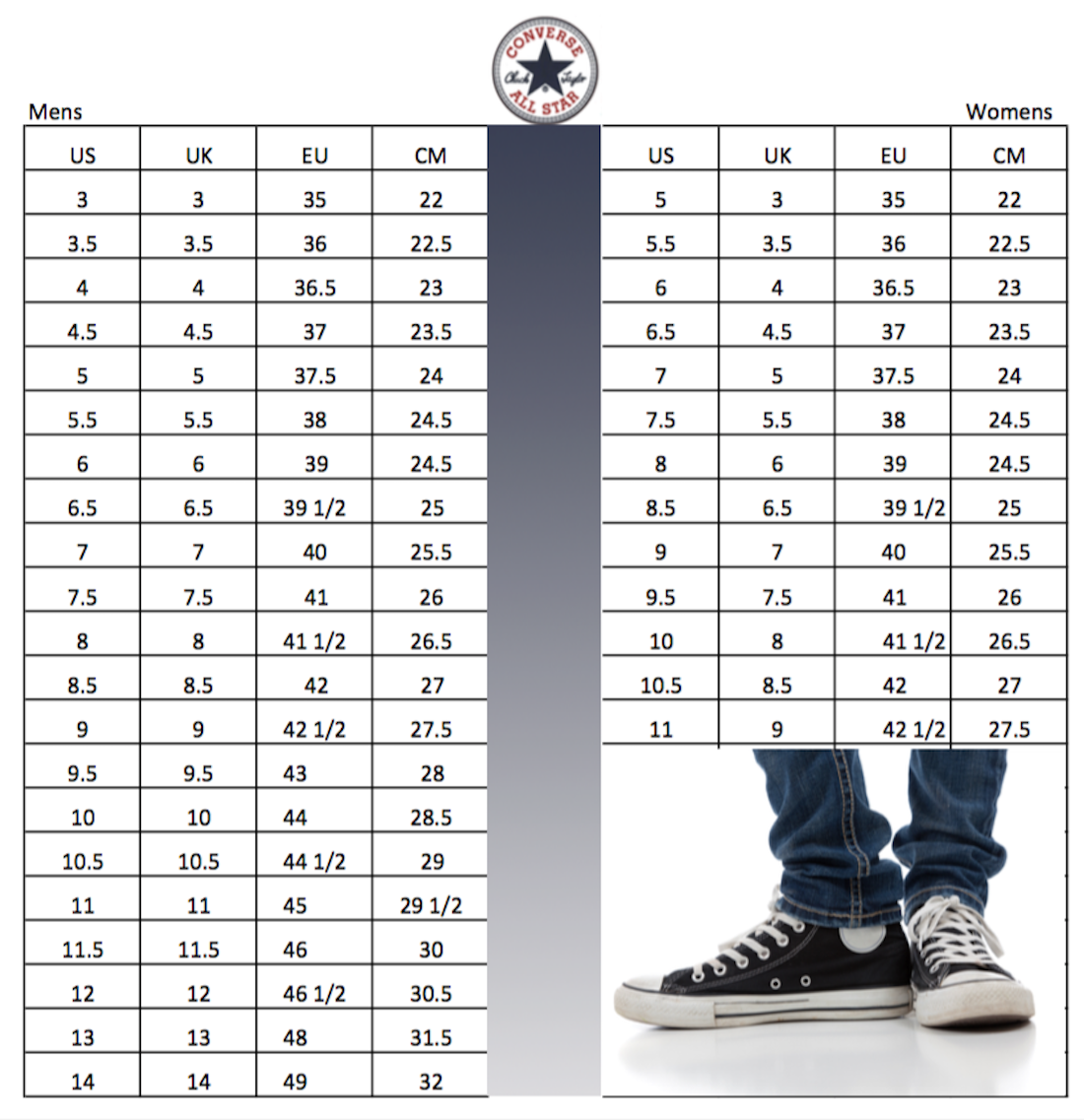 Converse All Star Chuck Taylor shoes size conversion chart