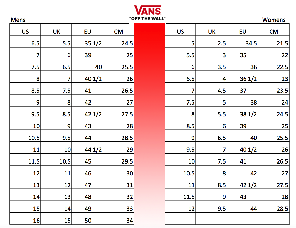 vans and converse sizing